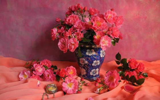 ваза, roses, розовый, цветы, роза, розы,