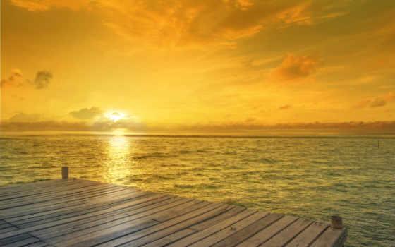 море, пирс, закат, природа, пляж,