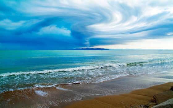 пляж, seascape, песок, небо, vacation, ocean, ткань, берег, waves,