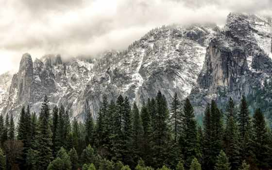 yosemite, park, national, сша, горы, водопад, лес,