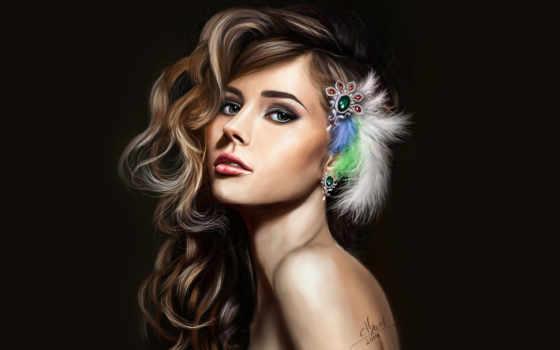 девушка, красивая, перья, free, devushki, календари, seer,