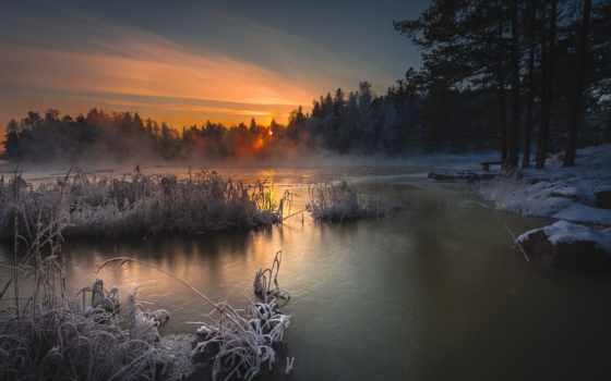 природа, winter, elder, ночь, озеро,