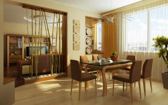 интерьер, бамбуковые, столовая, вставки, room, квартира, стиль, картинка, design, растения, чашки, стулья, кружки, листья, столовой, зал, перегородка, бамбуковая, living, цветы, house,