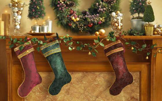 носки, christmas, праздник, камин, свечи, украшения, шары,