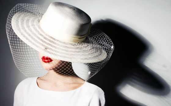 девушка, шляпе, вуалью, красной, большой, белой, помадой, губах,