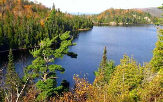 озеро, природа, provincial, orphan, park, канадский, wells, канады, серый, superior,