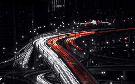 ночь, traffic, огни, shanghai, free, desktop, дорога,