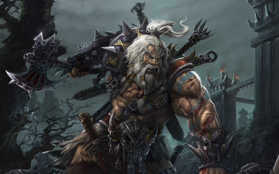 barbarian, art, armour, castle, diablo, топор, trees, бой,