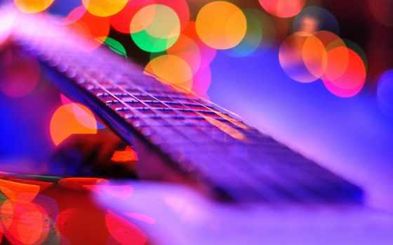 , гитара, гриф, огни,