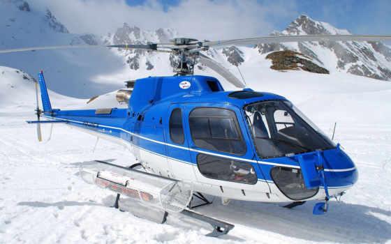 вертолет, blue, небо, горы, rescue, снег,