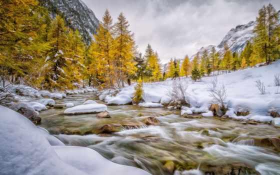 val, bever, engadin, winter, schweiz, река, снег, осень, гора,