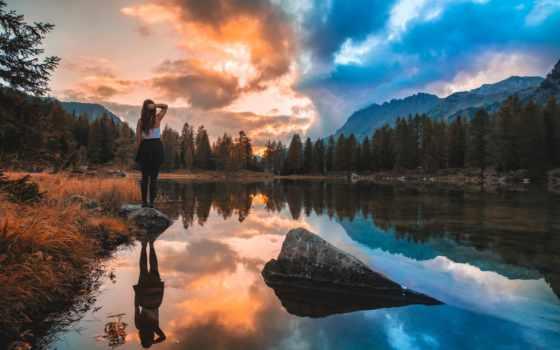горы, девушка, devushki, река, photography, природа,