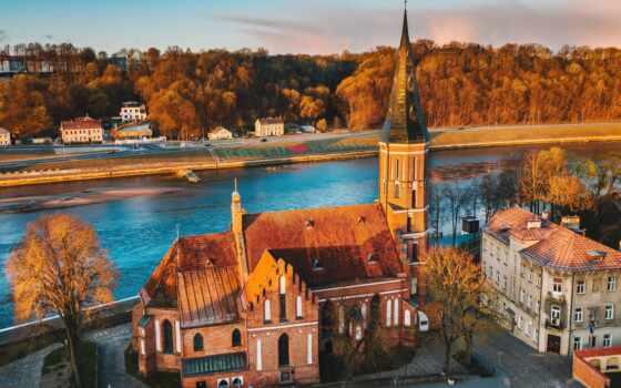 литва, free, река, kaunas, город, фото, день, первую, church