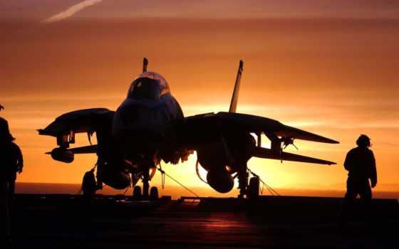 океан, авианосец, красивый, закат, самолет,