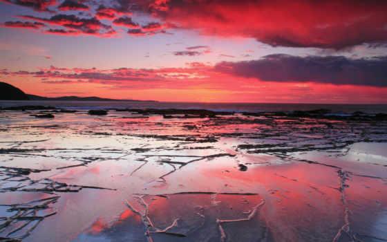 закат, пляж, море