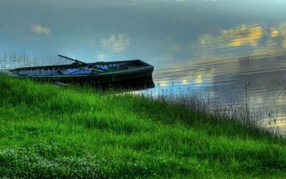 лодка, берег, трава
