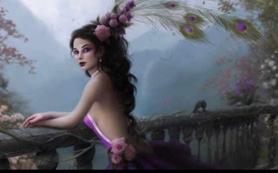 девушка, цветы, перья