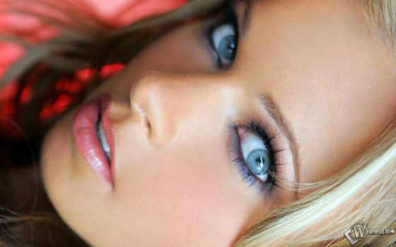 глаз, макияж, голубых, красивый, макияжа, серо,