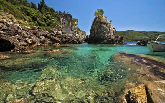 море, summer, природа, bay, песок, скалы,