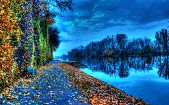 природа, осень, скамейка, канал, красиво, небо, water, пасмурно,