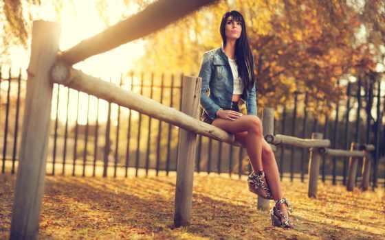 осень, девушка, brunette
