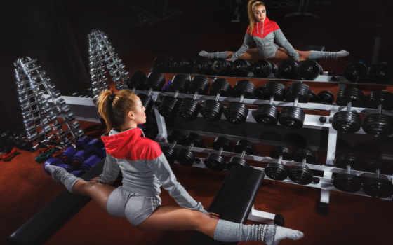 девушка, stretching, спорт, шпагат, stokovyi, отражение, зеркало, спортзал, dumbbell, dark