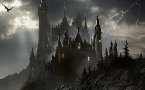 castle, art, dark, fantasy, landscape