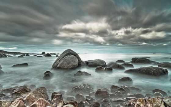 море, скалы, clouds, природа, magnificent, desktop, небо, побережье,