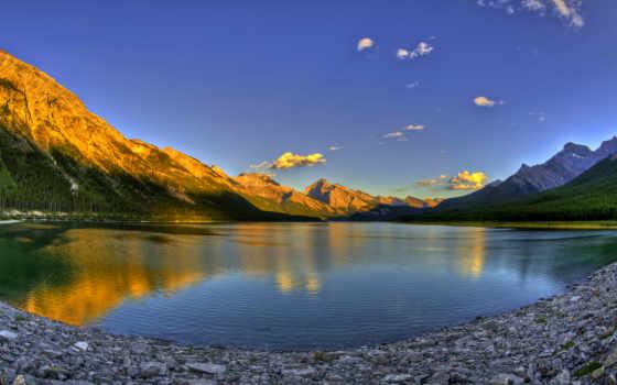 озеро, горы, закат, канадский, лес, небо,