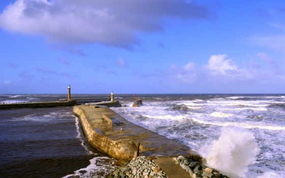 море, waves, маяки, великобритания, йоркширский, озеро, fantasy, lighthouses, изображение,