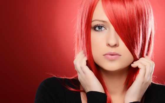 девушка, красноволосая, взгляд, красном, devushki, fone, xinh, волосы, лицо,