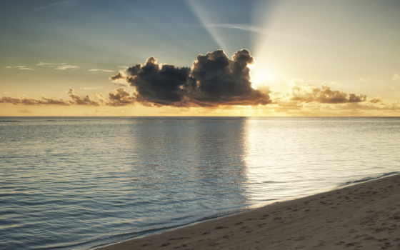 закат, ocean, море, пляж, берег, sun, rays, песок, oblaka, maldives, summer,