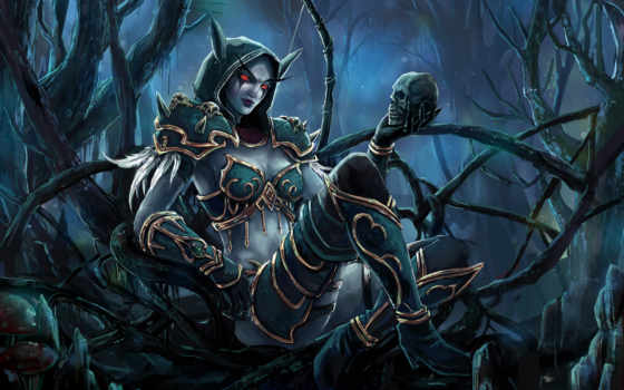 sylvanas, windrunner, world, warcraft, wow, эльфийка, art, сильвана, лук,