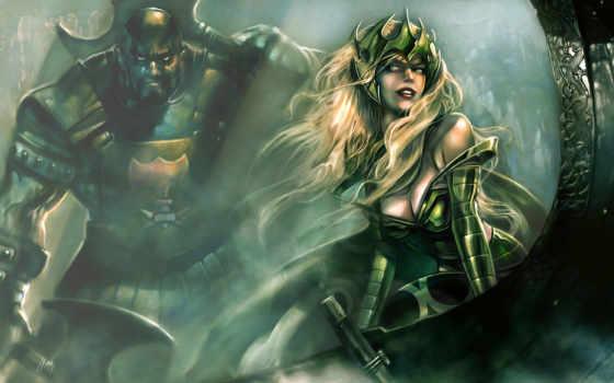 fantasy, игры, девушка, profi, воин, рисунки, добавил,