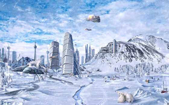 , global, freezing, fantasy, city,