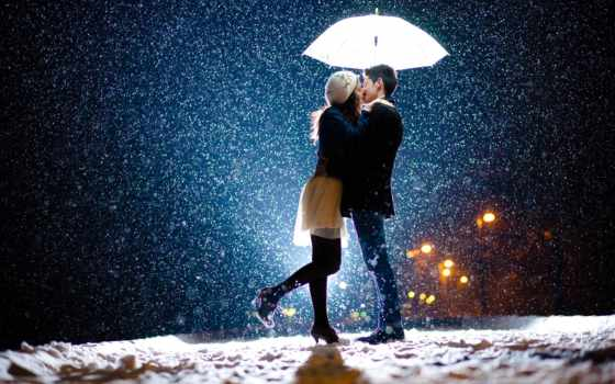 поцелуй в снегопад