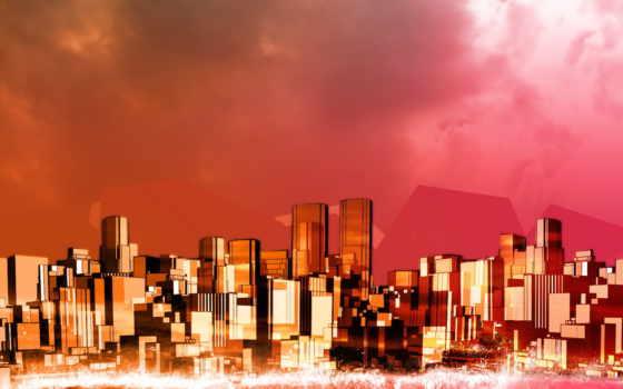 город, абстрактные, buildings