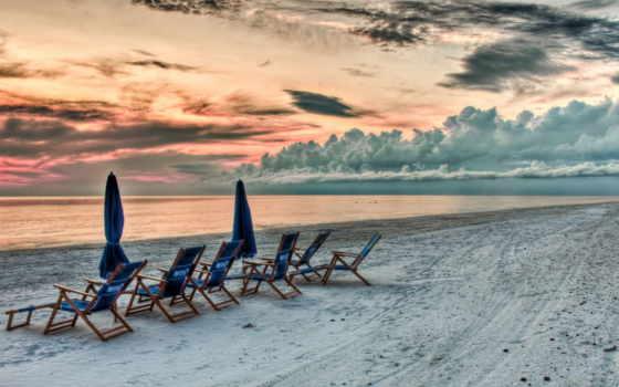 закат, пляж, песок, небо, море, more, красивый, взгляд,
