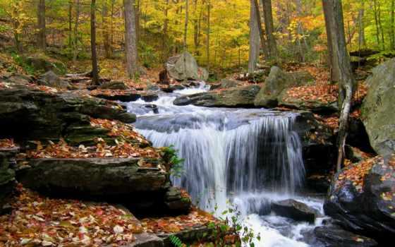 осень, водопад, камни