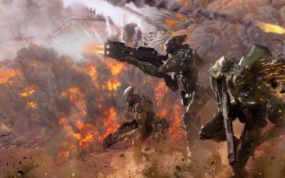 роботы, fantasy, robot, воюют, оружие, природа, фоны,