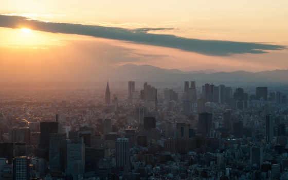 japanese, город, tokio, art, закат, небоскребы, мегаполис, tokyo, коллекциях,
