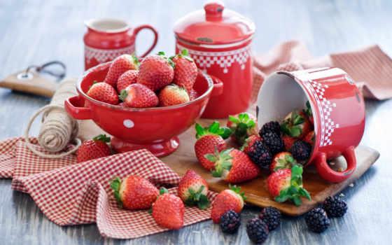 клубника, ягоды, summer, blackberry, посуда,