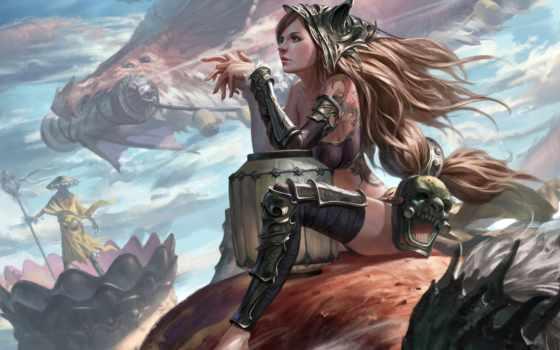 art, fantasy, девушка, красивый, дракон,