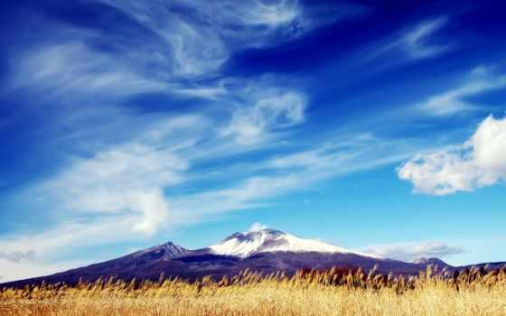 ,снег, гора, трава, небо, поле, облака, пик, сухая, картинка,