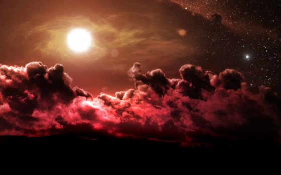 oblaka, небо, тучи, звезды, солнце, шарик, красные,