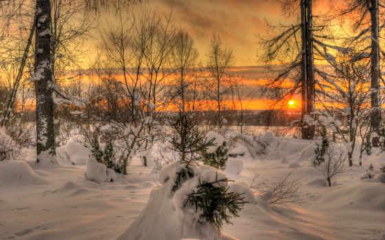 закат, winter, небо