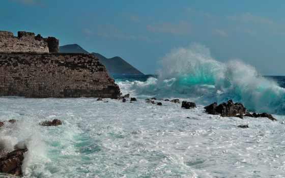 waves, скалы, море, пенка, форт, берег, fortress, горы, пейзажи -, развалины,