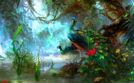 пруд, рисунок, природа, птицы, павлины, cvety,