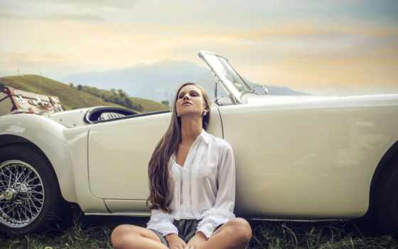 девушка, cabriolet, ретро, женщина, cover, color, глянц,