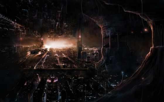 fantasy, фантастика, город, dark, futuristic, sci, картинка, art,